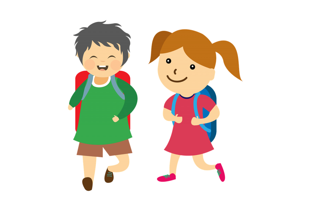 Two schoolgoing children with backpacks
