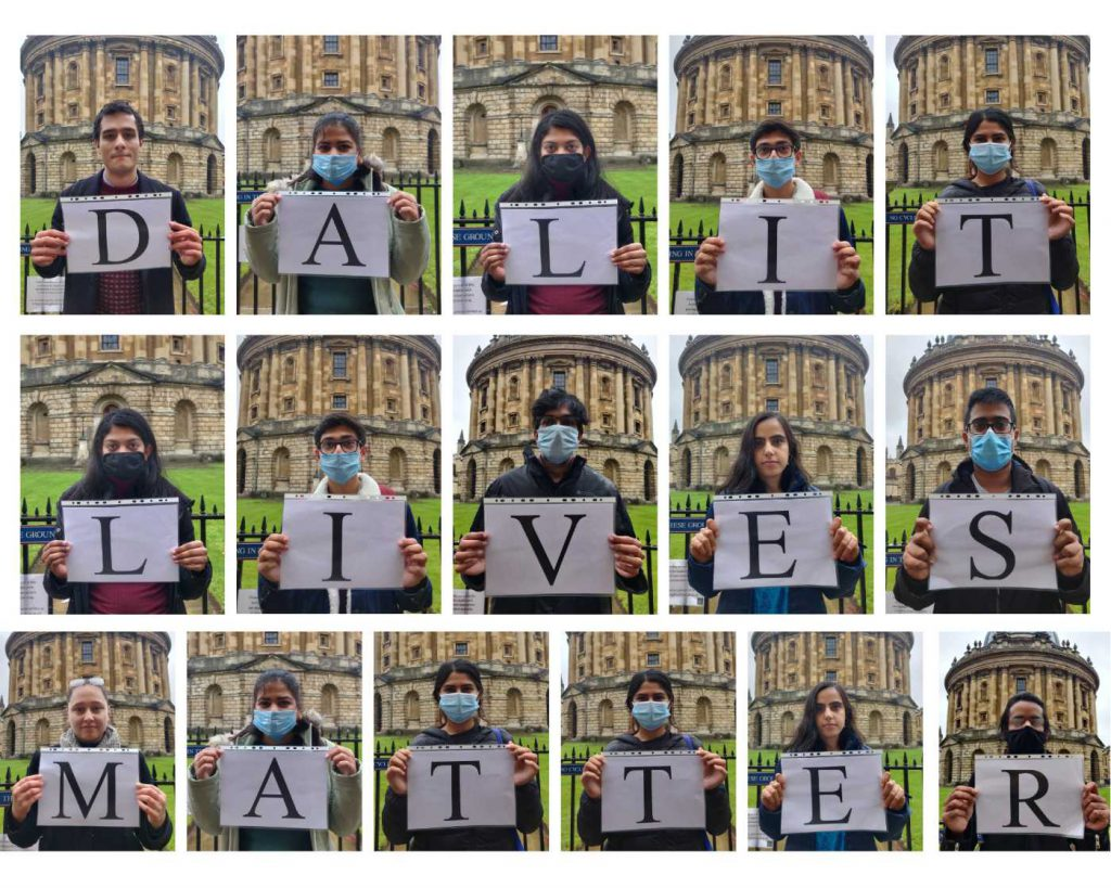 University of Oxford students with placards