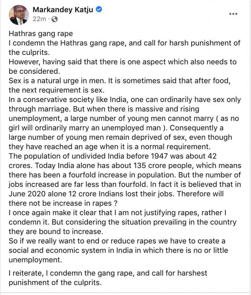 Markandey Katju's Facebook post in which he blames unemployment for the incidence of rape